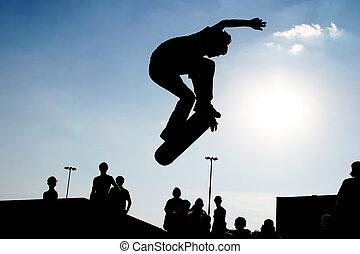 saltar, silueta, skateboarder