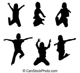 saltar, siluetas, arriba, niño, aire