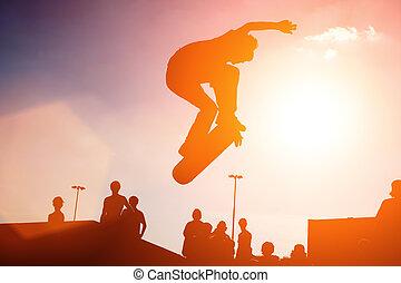 saltar, skateboarder