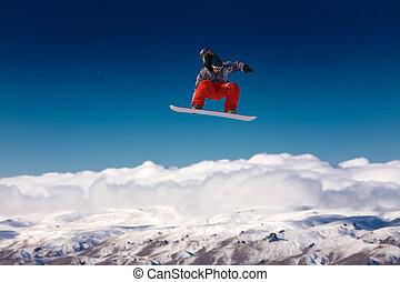 saltar, snowboarder, aire