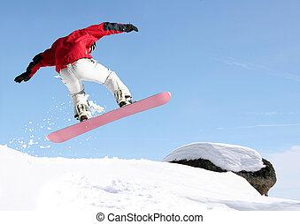 saltar, snowboarder