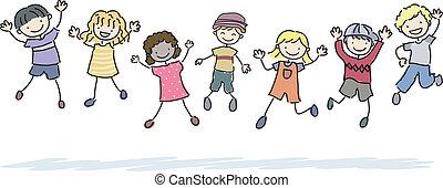 saltar, stickman, niños