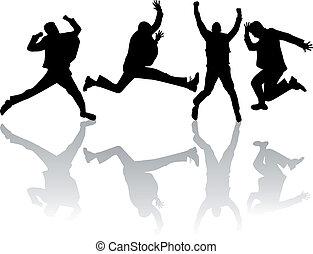 saltar, trabajo, vector, hombre