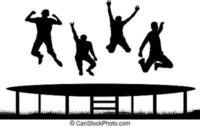 saltar, trampolín, gente