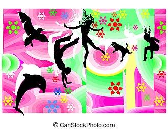 saltar, vuelo, feliz, figuras