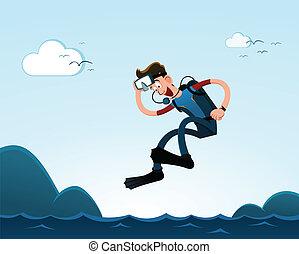 saltare, a, il, mare