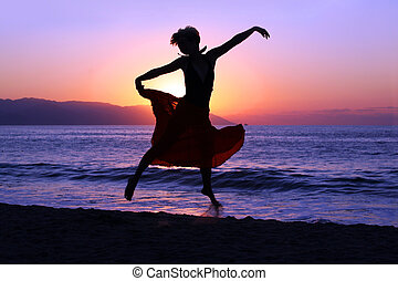 saltare, a, tramonto