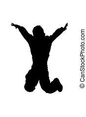 saltare, alto, silhouet
