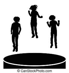 saltare, bambini, vettore, silhouette