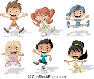 saltare, cartone animato, bambini