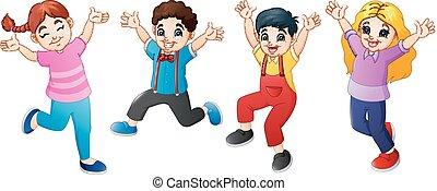 saltare, cartone animato, insieme, bambini