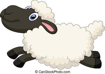 saltare, cartone animato, sheep