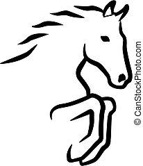saltare, cavallo, contorno
