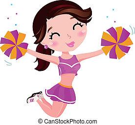 saltare, cheerleader, ragazza, isolato, bianco