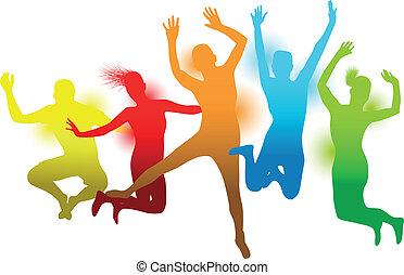 saltare, colorito, persone