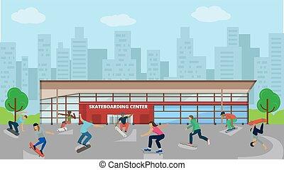 saltare, differente, città, skateboarders, estremo, vettore, sport, fuori, attivo, centro, uomo, urbano, ragazzo, donna, tricks., persone, ragazza, fondo, skateboarding, illustration.