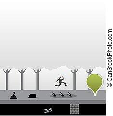 saltare, giungla, uomo, ostacoli