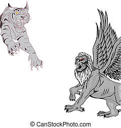 saltare, griffin., illustrazione, tiger, vettore