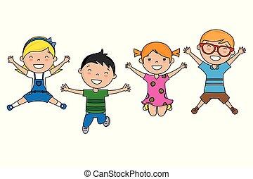 saltare, gruppo, bambini