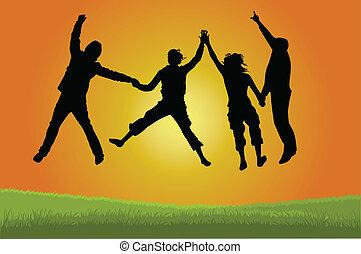 saltare, gruppo, persone