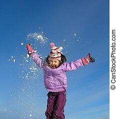 saltare, inverno, ragazza