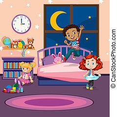 saltare, letto, bambini