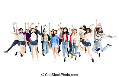 saltare, persone, isolato, gruppo, bianco, felice, giovane