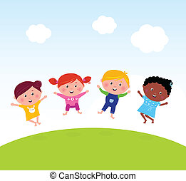 saltare, prato, felice, estate, gruppo, multicultural, ...