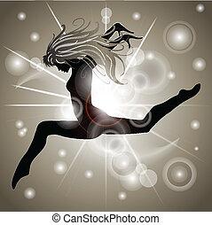 saltare, ragazza, con, oro, riflessioni