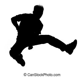 saltare, silhouette