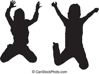 saltare, silhouette, bambini