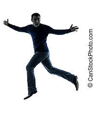 saltare, silhouette, fare il saluto militare, uomo, lunghezza, felice, pieno