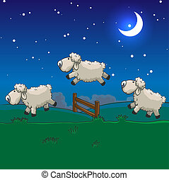 saltare, sleep., tre, loro, conteggio, sheep, sopra, fence.