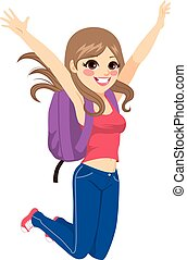 saltare, studente, ragazza