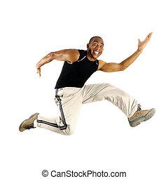 saltare, uomo, africano
