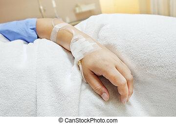 saltdamm, hospital., tålmodig, droppa, upp slut, iv