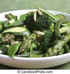 salteado, vegetales, verde