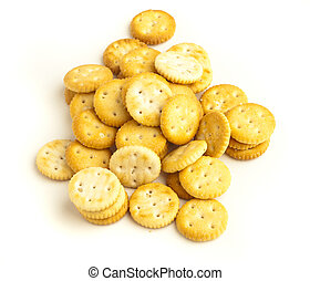 salted biscuit stack isolated on white background