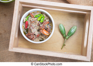 Salted crab stew with coconut milk