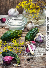 salted cucumber - Cucumber pickled with dill and garlic on...