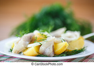 salted herring with boiled potatoes