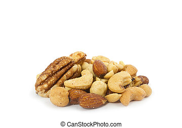 Salted Mixed Nuts - A stack / heap of salted mixed nuts.