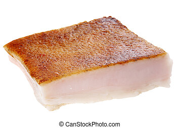 Salted pork fat with skin on white