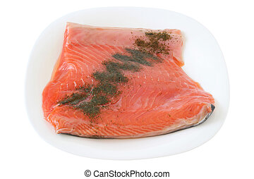 salted salmon on a plate