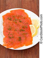 salted salmon on plate
