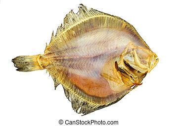 Salted turbot flatfish isolated on the white background. ...
