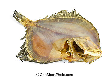 Salted turbot flatfish over the white background. View from ...