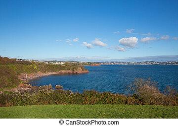Saltern Cove beach view towards Torquay Devon UK
