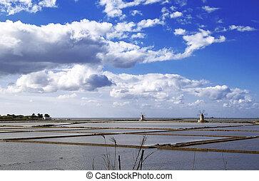 Saltern nonies - Marsala saltern with two windmills, Sicily