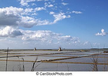 Saltern octies - Marsala saltern with two windmills, Sicily